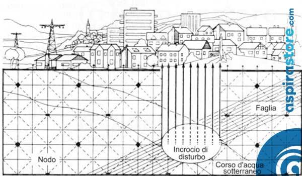 Spaccato di terreno con identificazione delle geopatie nodi di Hartmann, Curry, vene d'acqua e faglie