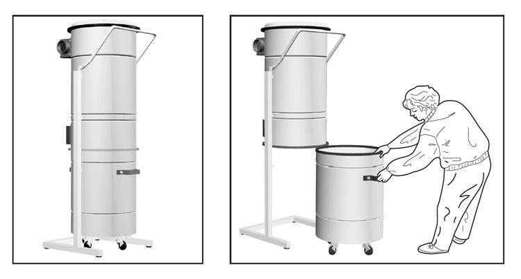 Manutenzione di un separatore polveri impianto di aspirazione centralizzata terziario