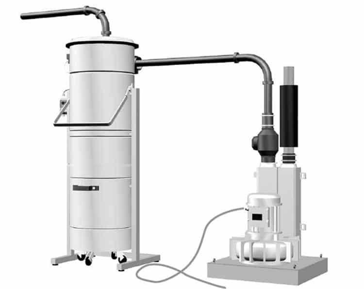 Modulo aspirante con pompa soffiante e separatore polveri per impianto di aspirazione centralizzato su albergo