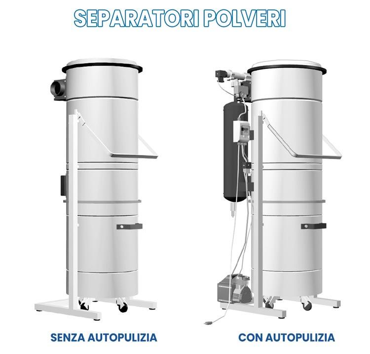Separatori polveri per aspirazione centralizzata industriale