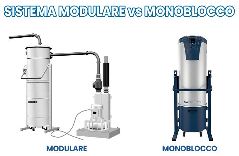 Sistema modulare vs centrale aspirante monoblocco aspirazione centralizzata industriale