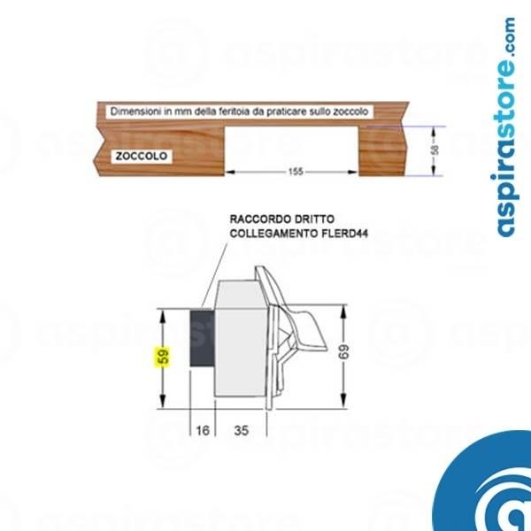 Istruzioni incasso bocchetta aspirapolvere centralizzato su zoccolo cucina raccordo dritto ingombro ridotto
