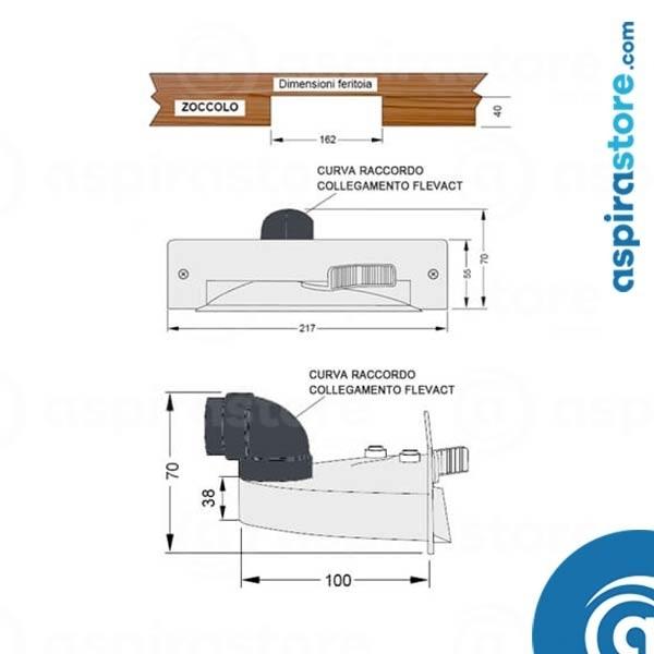 Collegamento flessibile a bocchetta zoccolo cucina aspirapolvere centralizzato
