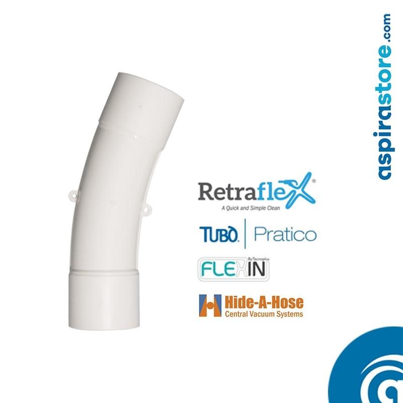 Curva PVC Ø51 22,5° ampio raggio per aspirazione tubo a scomparsa