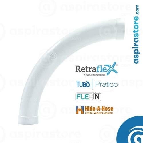 Curva PVC Ø51 90° ampio raggio per aspirazione tubo a scomparsa