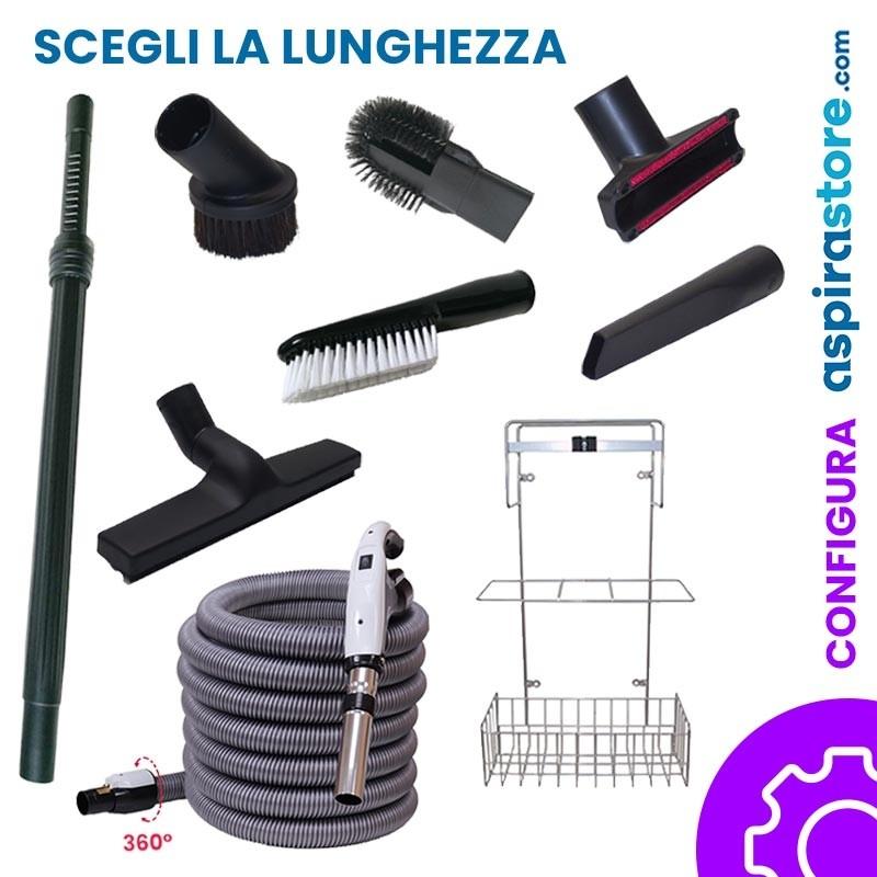 Kit accessori pulizia Ø32 completo di tubo elettrificato con interruttore on-off e spazzole