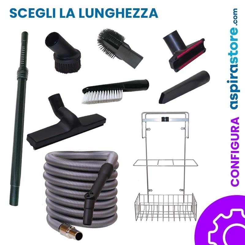 Kit accessori pulizia Ø32 completo di tubo flessibile standard spazzole asta e cestello