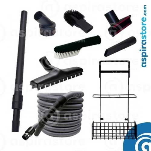 Kit accessori pulizia Ø32 con tubo flessibile mt 7 standard 6 spazzole asta cestello