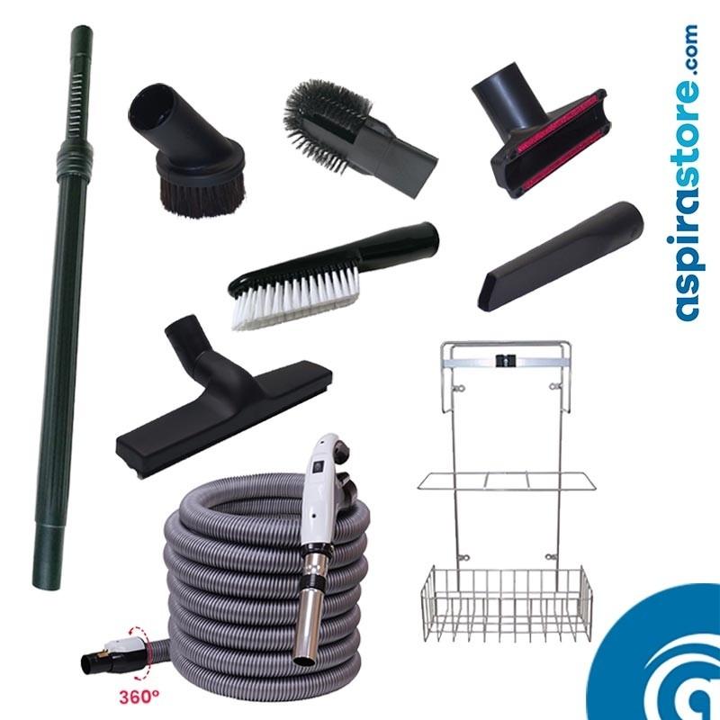 Kit accessori pulizia Ø32 tubo flessibile mt 9 ON-OFF 6 spazzole asta cestello