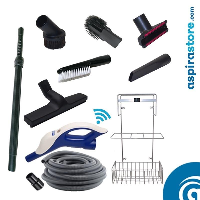 Kit accessori pulizia Ø32 con tubo flessibile mt 9 wireless 6 spazzole asta cestello