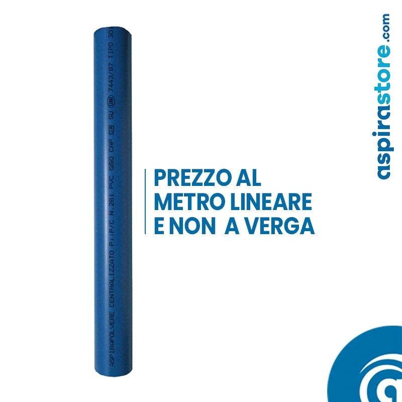 Tubo PVC Ø50 barra 2 mt colore blu per aspirazione centralizzata prezzo