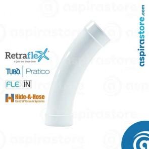 Curva PVC Ø51 45° ampio raggio per aspirazione tubo a scomparsa
