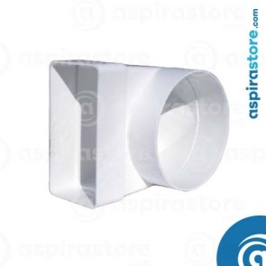 Adattatore di riduzione curva 90° da tubo rettangolare 120x60 a tubo tondo Ø100