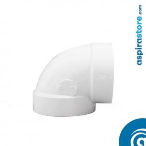 Curva PVC Ø51 FF 90° raggio stretto bianco aspirazione centralizzata