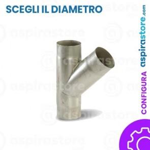 Derivazione acciaio zincato 45° FF aspirazione centralizzata