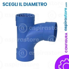 Derivazione PVC 90° FF largo raggio aspirazione centralizzata