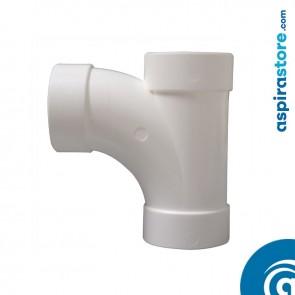 Derivazione PVC bianco Ø51 FF 90° largo raggio aspirazione centralizzata