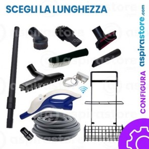 Kit accessori pulizia Ø32 completo di tubo flessibile wireless spazzole asta e cestello