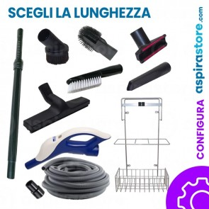 Kit accessori pulizia Ø32 completo di tubo flessibile wireless spazzole asta e cestello