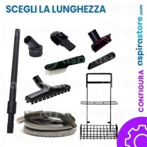 Kit accessori pulizia Ø32 completo di tubo flessibile elettrificato con interruttore spazzole asta e cestello