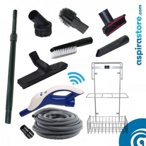 Kit accessori pulizia Ø32 wireless con tubo flessibile mt 7 6 spazzole asta cestello