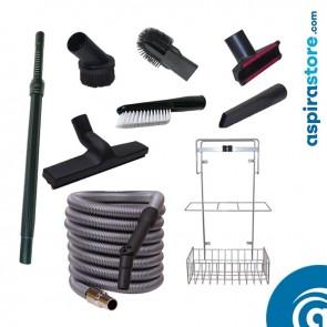 Kit accessori pulizia Ø32 con tubo flessibile mt 9 standard 6 spazzole asta cestello