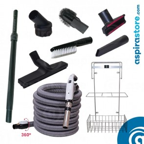 Kit accessori pulizia Ø32 con tubo flessibile mt 7 ON-OFF 6 spazzole asta cestello
