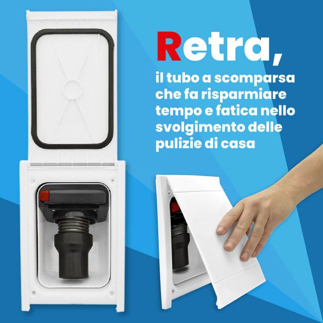 Banner Retraflex tubo a scomparsa che fa risparmiare tempo nelle pulizie di casa