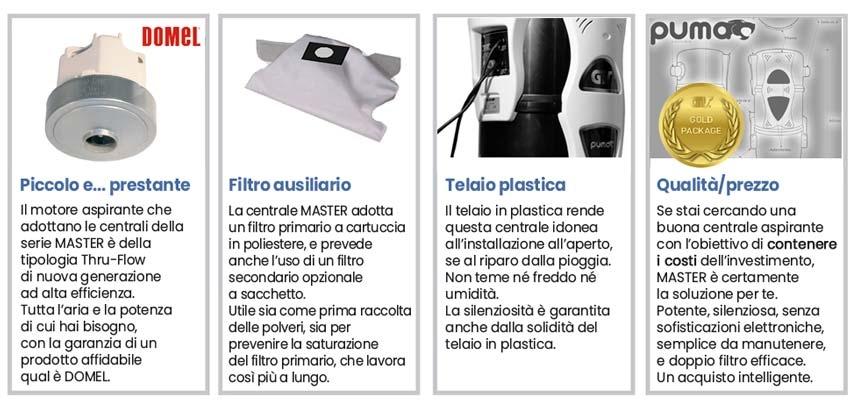 Caratteristiche centrale aspirante Master Puma 1.9 KW economica in plastica