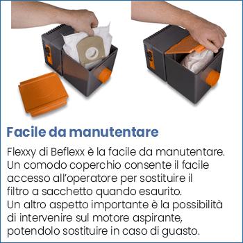 Facile manutenzione filtro centrale aspirante Flexxy 24 V