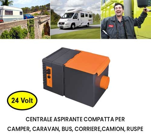 Centrale aspirante Flexxy 24V per caravan camper camion bus scavatori