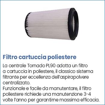 Filtro cartuccia poliestere centrale aspirante Tornado PL90