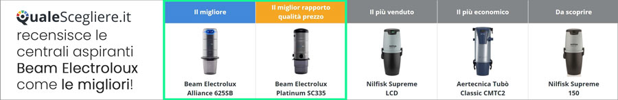 Beam Electrolux la miglior marca di aspirapolvere centralizzato anche secondo qualescegliere.it