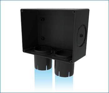 La scatola vmc Disappair riceve tubi vmc di vario diametro, dal diametro 40 interno al 50 e fino al 63