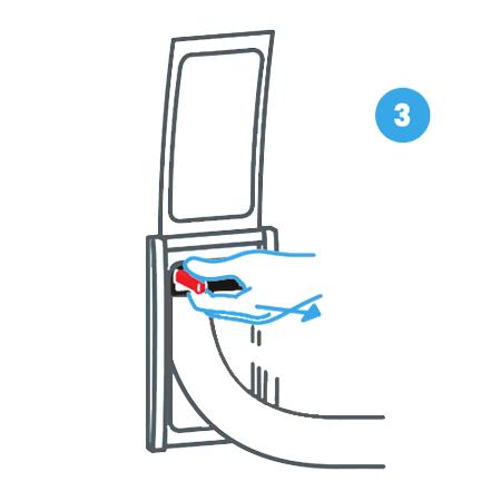 3. Attiva l'impianto di aspirazione centralizzata agendo sulla leva Retraflex