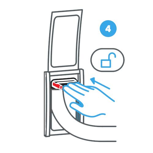 4. Sblocca la maniglia per modulare la lunghezza del tubo flessibile
