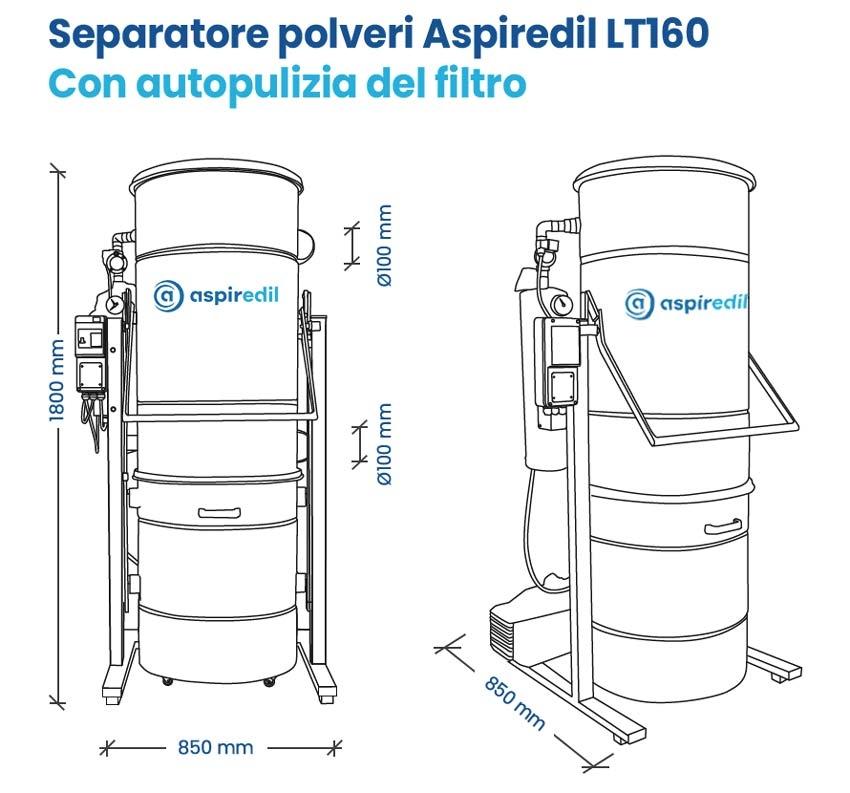 Separatore polveri Aspiredil lt 160 con autopulizia del filtro