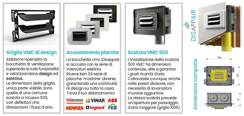 Caratteristiche bocchetta ventilazione vmc 503 con griglia Disappair ABB Chiara