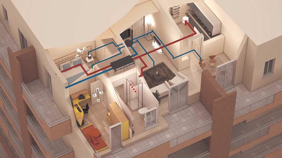 Installazione recuperatore di calore a controsoffitto Vortice HRI-E