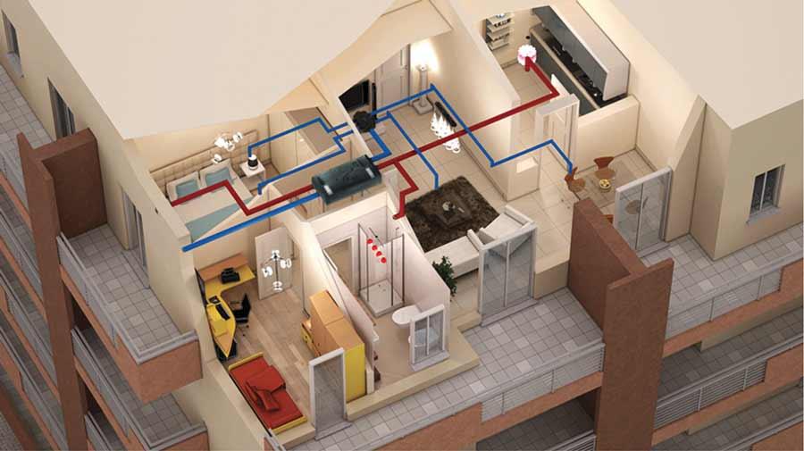 Installazione impianto vmc centralizzato con recuperatore di calore VORT HRI 200 PHANTOM