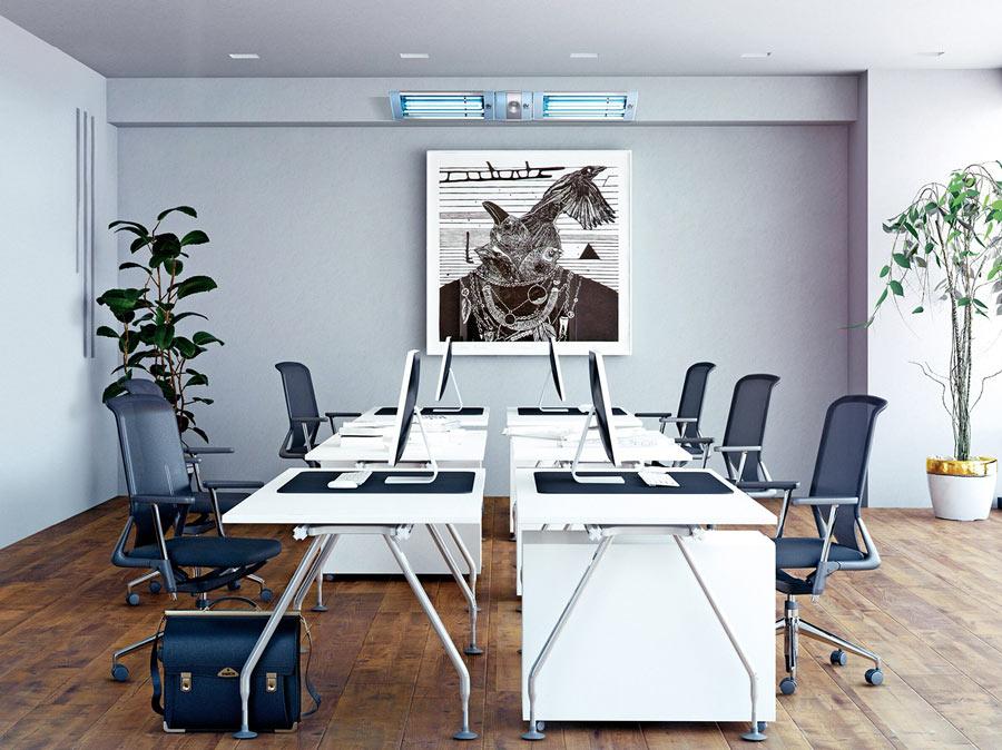 Sanificazione ambiente ufficio da covid con lampada uvc Vortice UVLOGIKA